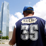 "A man from Mustang, Okla., who chose not to be named wears ""traitor"" on tape over ""Durant"" on the back of his Kevin Durant jersey in front of the Chesapeake Energy Arena in Oklahoma City, Monday, July 4, 2016. Oklahoma City Thunder forward Kevin Durant announced he will sign with the Golden State Warriors. Photo by Kurt Steiss, The Oklahoman"