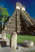 GUATEMALA, MAYAN, TIKAL #1 Jaguar Temple and Great Plaza