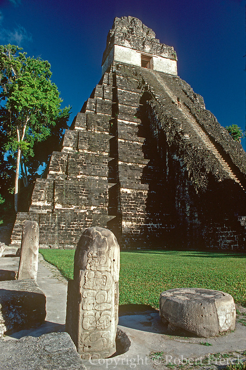 GUATEMALA, MAYAN, TIKAL #1 Jaguar Temple and Great Plaza