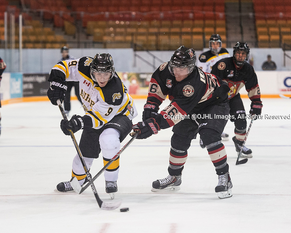 NEWMARKET, ON - Sep 10, 2015 : Ontario Junior Hockey League game action between Aurora and Newmarket, Daniel Mantenuto #9 of the Aurora Tigers and Marty Lawlor #26 of the Newmarket Hurricanes battle for the puck.<br /> (Photo by Stephen DiNallo / OJHL Images)