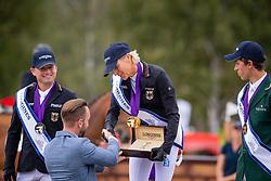 Individual Podium, Klimke Ingrid, GER, Jung Michael, GER, Daniels Cathal, IRL<br /> European Championship Eventing<br /> Luhmuhlen 2019<br /> © Hippo Foto - Dirk Caremans