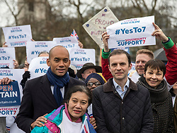 © Licensed to London News Pictures. 13/12/2017. London, UK. Chuka Umunna MP (L) and Caroline Lucas (R) join a rally in Parliament Square in support of Amendment 7 to the EU Withdrawal Bill. Photo credit: Rob Pinney/LNP