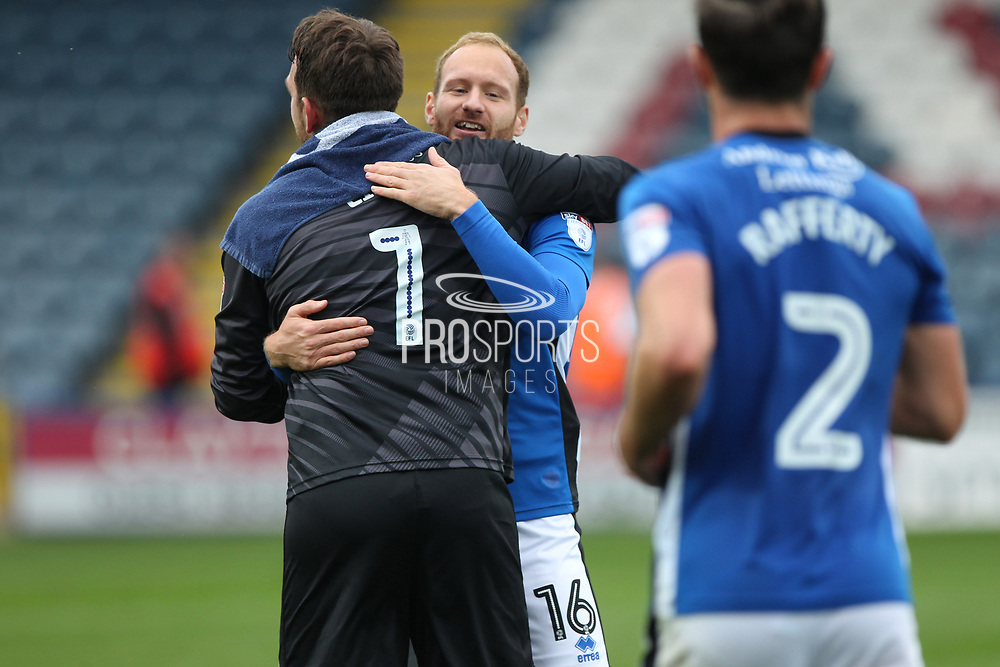 Matty Done and Josh Lillis celebrate after the match during the EFL Sky Bet League 1 match between Rochdale and Gillingham at Spotland, Rochdale, England on 23 September 2017. Photo by Daniel Youngs.