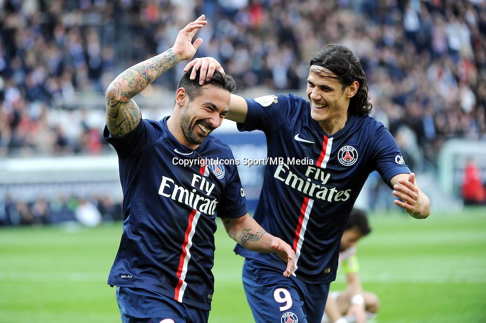 Joie Ezequiel LAVEZZI / Edinson CAVANI - 25.04.2015 - Paris Saint Germain / Lille - 34eme journee de Ligue 1<br />Photo : Nolwenn Le Gouic / Icon Sport