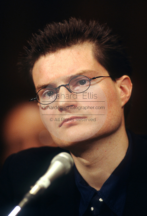 Former Swiss Bank guard Christophe Meili testifies during a Senate hearing on Nazi gold in Swiss banks May 20, 1997 in Washington, DC.