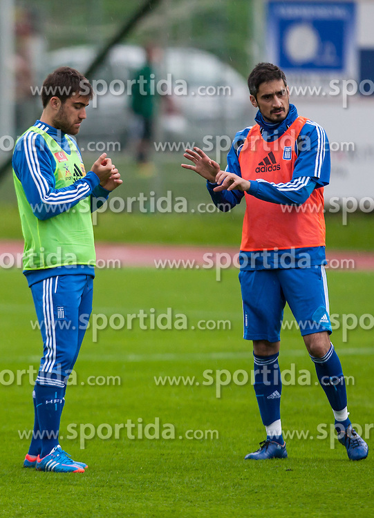 23.05.2012, Casino Stadion, Kitzbuehel, AUT, UEFA EURO 2012, Trainingscamp, Griechenland, Training, im Bild Sokratis Papastathopoulos, (GRE), Nikos Liberopoulos, (GRE) // during a trainings Session of Greece National Footballteam for preparation UEFA EURO 2012 at Casino Stadium, Kitzbuehel, Austria on 2012/05/23. EXPA Pictures © 2012, PhotoCredit: EXPA/ Juergen Feichter