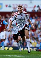 Photo: Mark Stephenson. <br /> Aston Villa v Liverpool. Barclays Premiership. 11/08/2007. <br /> Liverpool's Steven Gerrard celebrates his goal