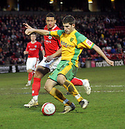 London - Saturday, January 12th, 2008: Ched Evans of Norwich City scores his goal to equalise during the Coca Cola Champrionship match at Oakwell, Barnsley. (Pic by Paul Hollands/Focus Images)