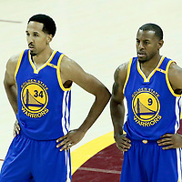09 June 2017: Golden State Warriors guard Shaun Livingston (34) is seen next to Golden State Warriors forward Andre Iguodala (9) during the Cleveland Cavaliers 137-11 victory over the Golden State Warriors, in game 4 of the 2017 NBA Finals, at  the Quicken Loans Arena, Cleveland, Ohio, USA.