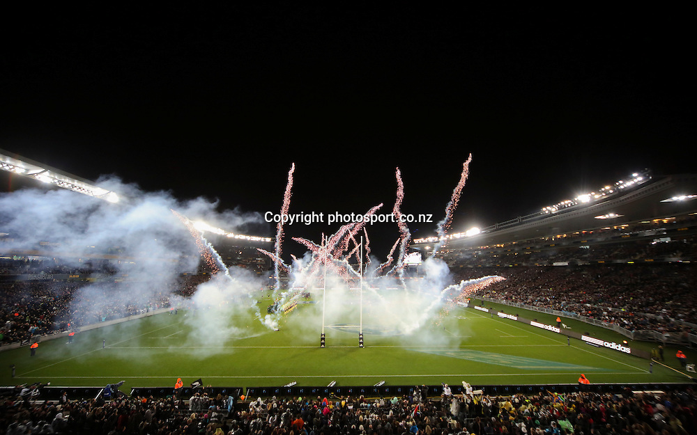 Fireworks pre match. The Rugby Championship. New Zealand All Blacks versus South Africa. Rugby Union. Eden Park, Auckland, New Zealand. Saturday 14 September 2013. Photo: Photosport.co.nz