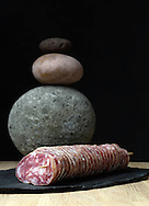 31/12/14 - ORLEAT - PUY DE DOME - FRANCE - Mise en scene studio de saucisson d Auvergne - Photo Jerome CHABANNE
