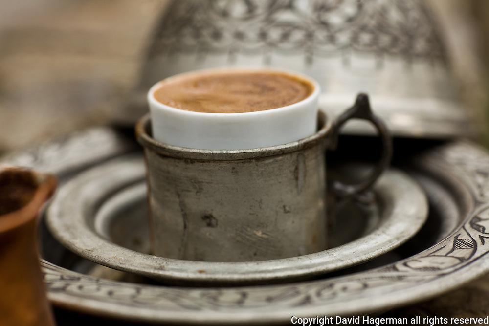 Traditonal Turkish coffee served at Kiva, Istanbul, Turkey
