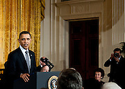 President Barack Obama speaks  during a ceremony to award the Medal of Freedom to Stan Musial and others in the East Room of the White House in Washington DC on February 15, 2011. Photo by Kris Connor