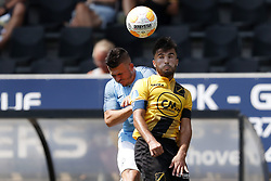 (L-R) Lorenzo Gonzalez of EDS Team Manchester City, Mounir El Allouchi of NAC Breda during the Pre-season Friendly match between NAC Breda and EDS Team Manchester City at Rat Verlegh stadium on August 04, 2018 in Breda, The Netherlands