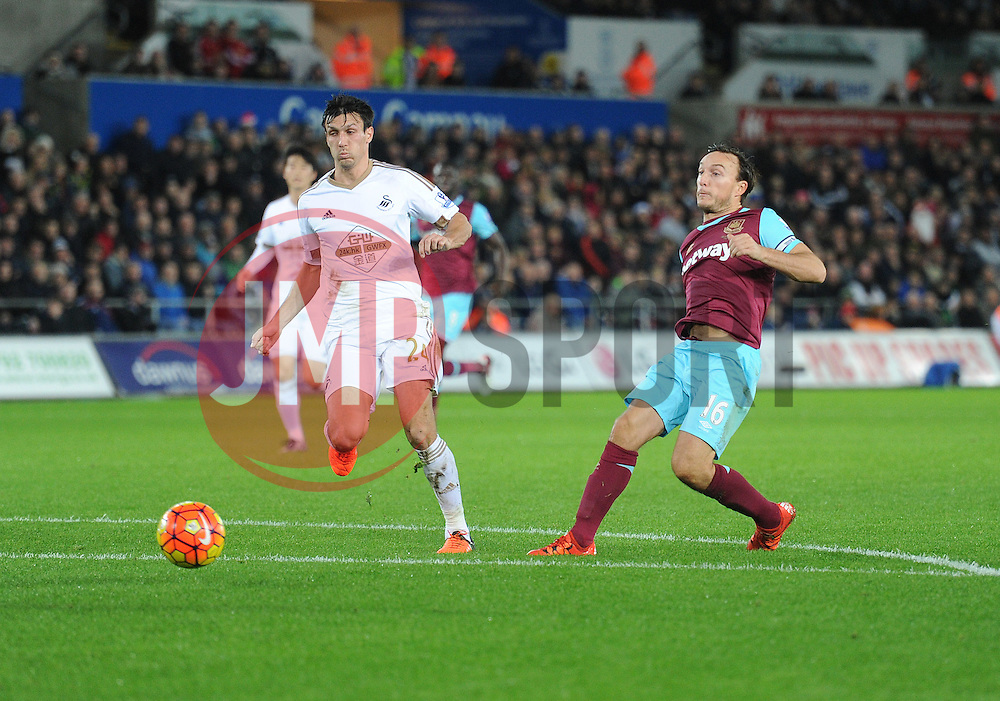 Mark Noble of West Ham United shoots at goal. - Mandatory byline: Alex James/JMP - 07966 386802 - 20/12/2015 - FOOTBALL - Liberty Stadium - Swansea, England - Swansea City v West Ham United - Barclays Premier League