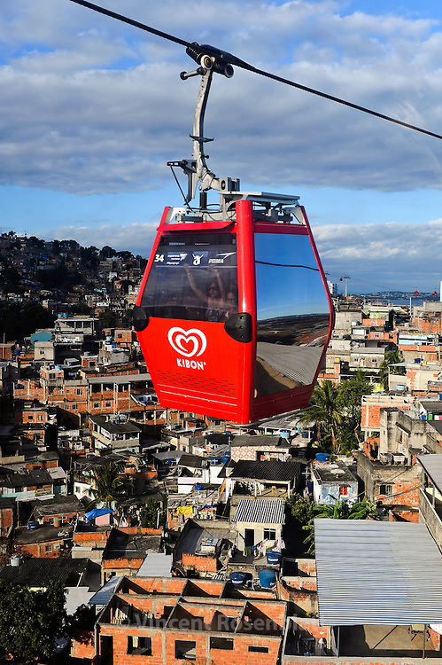 Cable Car connecting all hills and favelas of the Complexo do Alemão. One dollar for the most amazing urban landscapes from Zona Norte of Rio de Janeiro.