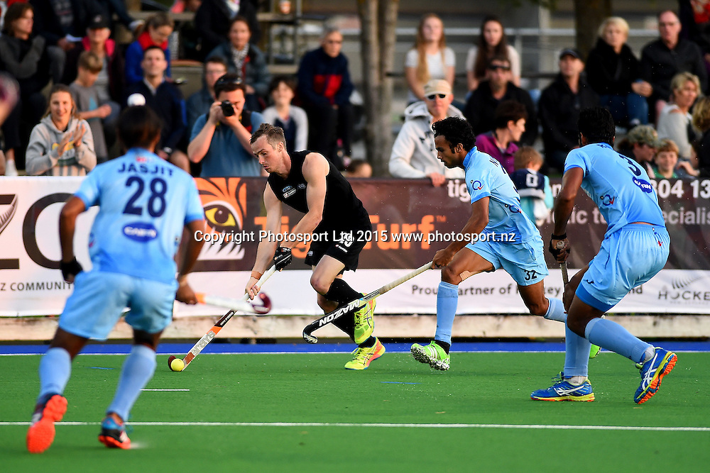 Black Sticks Men player Hugo Inglis during their 2015 South Island Tour game between the New Zealand Black Sticks Men v India. Saxton Turf, Nelson, New Zealand. Tuesday 6 October 2015. Copyright Photo: Chris Symes / www.photosport.nz