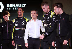 Drivers Nico Hulkenberg (right) and Daniel Ricciardo pose with retired racing driver Alain Prost during the Renault F1 Team 2019 season launch at Whiteways Technical Centre, Oxford.