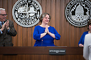 Madison Mayor Satya Rhodes-Conway thanks the crowd after being sworn in by City Clerk Maribeth Witzel-Behl at the City County Building in Madison, WI on Tuesday, April 16, 2019.
