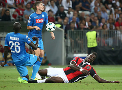 Mario Balotelli (R) from Nice competes with Kalidou Koulibaly  (L) from Naples during The UEFA Champions League Qualifying Plays-Offs return at Allianz Riviera in Nice , France , on August 22, 2017 . Nice won Naples 0-2 (Credit Image: © Serge Haouzi/Xinhua via ZUMA Wire)