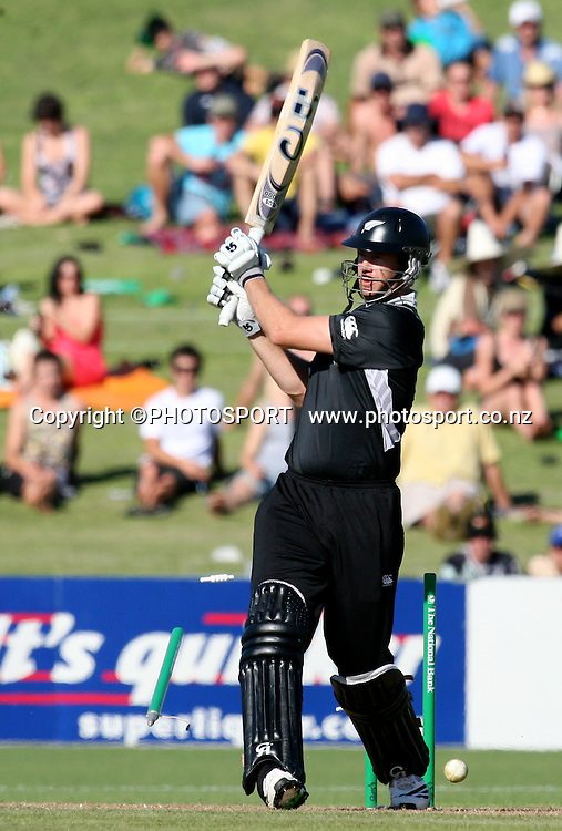 Jacob Oram is bowled for 83. New Zealand Black Caps v Bangladesh. 1st ODI. McLean Park, Napier. Friday 05 February 2010  Photo: John Cowpland/PHOTOSPORT