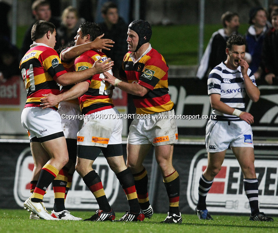 Waikato's Callum Bruce is congratulated on scoring his try. Air NZ Cup, Waikato v Auckland, Waikato Stadium, Hamilton, Saturday 30 August 2008. Photo: Stephen Barker/PHOTOSPORT