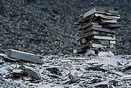 A stake of slate at The Dinorwic Slate Quarry which dominate the landscape at Llanberis in north Wales.