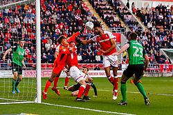 Michael Ihiekwe of Rotherham United heads at goal - Mandatory by-line: Ryan Crockett/JMP - 16/05/2018 - FOOTBALL - Aesseal New York Stadium - Rotherham, England - Rotherham United v Scunthorpe United - Sky Bet League One Play-Off Semi Final