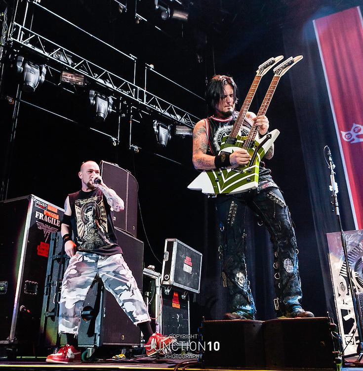 Five Finger Death Punch in concert at the LG Arena, Birmingham, United Kingdom<br /> Picture Date: 5 December, 2013