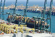 Container ship MSC Joanna alongside the Port of Valencia in Spain.