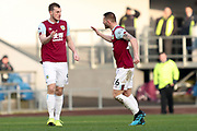 Burnley forward Chris Wood celebrates his goal with team- mate during the Premier League match between Burnley and Leicester City at Turf Moor, Burnley, England on 19 January 2020.