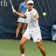 ALEX DE MINAUR hits a forehand at the Rock Creek Tennis Center.