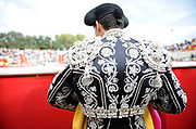BEA AHBECK/NEWS-SENTINEL<br /> Brega Davide Antunes during the bloodless bullfight during the Our Lady of Fatima Portuguese Festival in Thornton Saturday, Oct. 15, 2016.