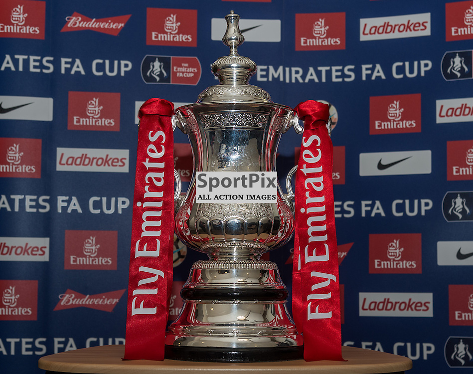 The Emirates FA Cup displayed at Macclesfield Town FC ahead of the club's 2nd Round FA Cup tie with Oxford United FC <br /> <br /> (c) John Baguley | SportPix.org.uk