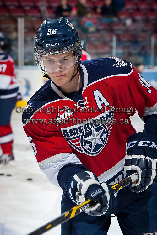 KELOWNA, CANADA - MARCH 28: Brandon Carlo #36 of Tri-City Americans warms up against the Kelowna Rockets on March 28, 2015 at Prospera Place in Kelowna, British Columbia, Canada.  (Photo by Marissa Baecker/Getty Images)  *** Local Caption *** Brandon Carlo;