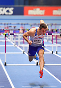 Andrew Pozzi (GBR) dips for the line on his way to winning gold in the Mens 60m Hurdles Final in a seasons best time of 7.46 during the final session of the IAAF World Indoor Championships at Arena Birmingham in Birmingham, United Kingdom on Saturday, Mar 2, 2018. (Steve Flynn/Image of Sport)