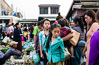 The central market in downtown Phonsavan, Laos.