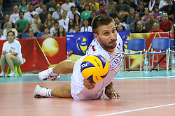 06.09.2014, Krakow Arena, Krakau, POL, FIVT WM, USA vs Frankreich, Gruppe D, im Bild Antonin Rouzier (FRA) // during the FIVB Volleyball Men's World Championships Pool B Match beween USA and France at the Krakow Arena in Krakau, Poland on 2014/09/06.<br />