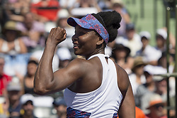 March 25, 2018 - Miami, FL, United States - KEY BISCAYNE, FL - March, 25: Venus Williams (USA) celebrating here, defeats Kiki Bertens (NED) 57 63 75 at the 2018 Miami Open held at the Tennis Center at Crandon Park.   Credit: Andrew Patron/Zuma Wire (Credit Image: © Andrew Patron via ZUMA Wire)