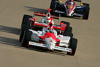 Helio Castroneves, Ryan Briscoe and Danica Patrick at the Nashville Superspeedway, Firestone Indy 200, July 16, 2005