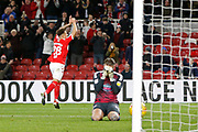 Goal celebration by Middlesbrough midfielder Marcus Tavernier (28) during the EFL Sky Bet Championship match between Middlesbrough and Ipswich Town at the Riverside Stadium, Middlesbrough, England on 29 December 2018.
