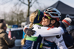 Catching up with old friends, Tayler Wiles and Joëlle Numainville - 2016 Omloop het Nieuwsblad - Elite Women, a 124km road race from Vlaams Wielercentrum Eddy Merckx to Ghent on February 27, 2016 in East Flanders, Belgium.