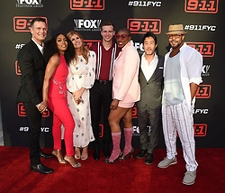 (L-R) Cast members Peter Krause, Angela Bassett, Connie Britton, Oliver Stark, Aisha Hinds, Kenneth Choi, and Rockbound Dunbar attend the FYC Red Carpet event for Fox's '9-1-1' at Saban Media Center at the Television Academy Wolf Theater on June 4, 2018 in North Hollywood, California.(Photo by Frank Micelotta/Fox/PictureGroup). 04 Jun 2018 Pictured: Peter Krause, Angela Bassett, Connie Britton, Oliver Stark, Aisha Hinds, Kenneth Choi,Rockbound Dunbar. Photo credit: Frank Micelotta/Fox/PictureGroup / MEGA TheMegaAgency.com +1 888 505 6342