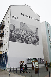Schwedter Strasse historic location of Berlin Wall with tourist information in Prenzlauer Berg ,Berlin, Germany