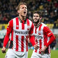 KERKRADE, Roda JC - PSV, voetbal, Eredivisie seizoen 2015-2016, 16-04-2016, Parkstad Limburg Stadion, PSV speler Luuk de Jong (L) heeft de 0-2 gescoord, PSV speler Gaston Pereiro (R).