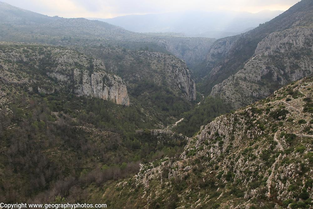 Carboniferous limestone gorge, Vall de Ebo, Marina Alta, Alicante province, Spain