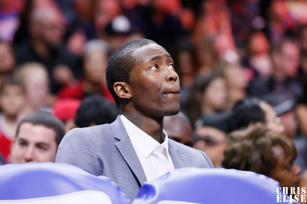 20 March 2015: Los Angeles Clippers guard Jamal Crawford (11) is seen on the bench during the Los Angeles Clippers 113-99 victory over the Washington Wizards, at the Staples Center, Los Angeles, California, USA.