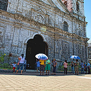 Outside courtyard of the Basilica del Santo Nino in Cebu City. The facade and bell tower were damaged during a 7.2 earthquake that rocked the Visayas region in October.