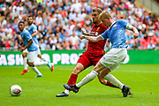 Manchester City midfielder Kevin de Bruyne (17) shoots towards the goal during the FA Community Shield match between Manchester City and Liverpool at Wembley Stadium, London, England on 4 August 2019.