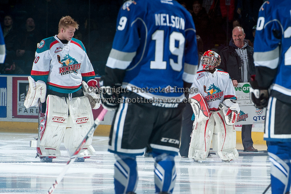 KELOWNA, CANADA -FEBRUARY 8: Jordon Cooke #30 of the Kelowna Rockets lines up with the Pepsi player of the game against the Victoria Royals on February 8, 2014 at Prospera Place in Kelowna, British Columbia, Canada.   (Photo by Marissa Baecker/Getty Images)  *** Local Caption *** Jordon Cooke;